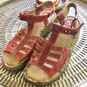 Fly London Sandals red leather great cond Sz 10